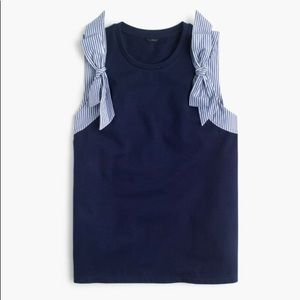 J. CREW bow shoulder top navy and striped bow NEW